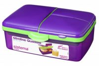 1.5L Slimline Quaddie Sistema lunchbox purple-green