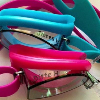 Personalised Vorgee swimming goggles with names on
