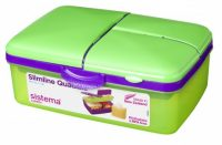 Personalised 1.5L Slimline Quaddie Sistema lunchbox green-purple