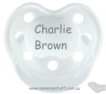 Personalised white Baby Nova dummy pacifier soother orthodontic silicone teat