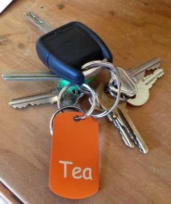 Personalised key-ring GI name-tag orange