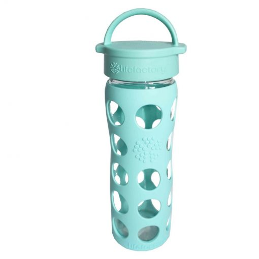 Personalised Lifefactory glass water drink bottle with loop cap in light blue turquise