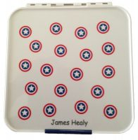 Personalised bento three Little Lunch box Co in white with shields with a name marked on the lid