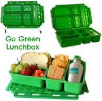 Personalised Green Go Green lunch box set - Zig Zag