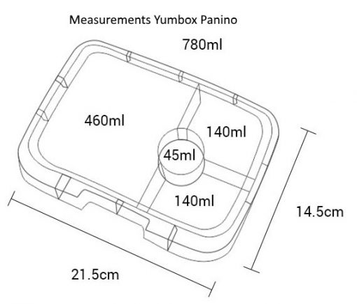 Drawing with measurements for the Yumbox Panino