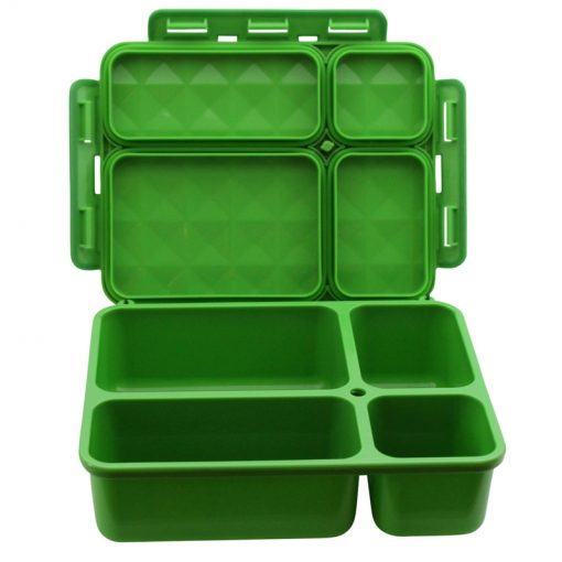 Personalised medium Go Green leak proof bento lunch boxes - green - open