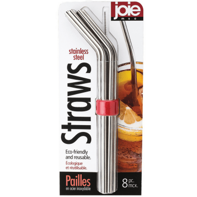 Joie reusable stainless steel straws pack of 6 straws with holder and cleaning brush