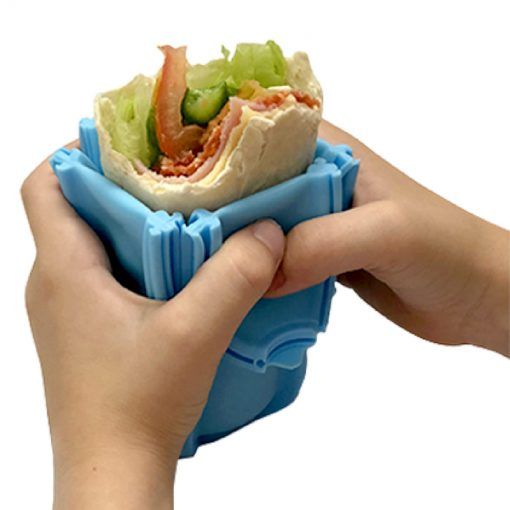 Wrap'd reusable wrap holder container - non-spill and easy to use and hold when eating wraps - open with food