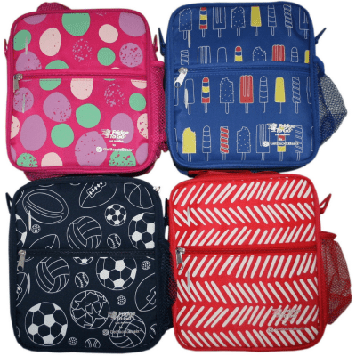Medium Fridge to-go insulated cooler lunch bag - mix photo of stones, popsicles, balls and herringbone design