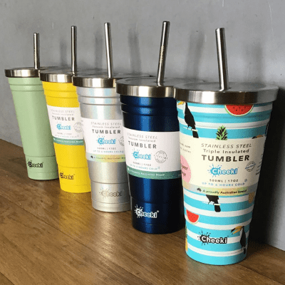 Cheeki 500ml stainless steel vacuum insulated tumbler with lid and straw - mix photo