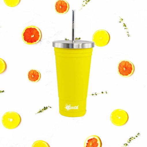 Personalised 500ml Cheeki stainless steel vacuum insulated tumbler with lid and straw - Lemon tumbler with fruit around it
