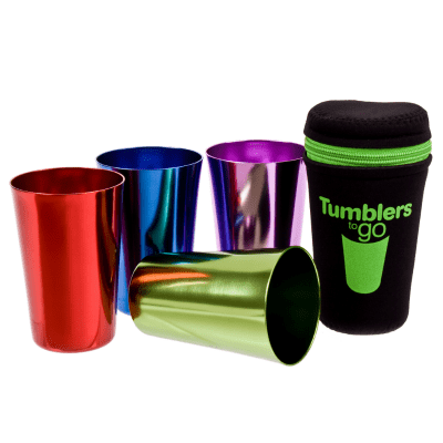 Go D.Line tumblers to go - set of 4 colourful retro tumblers in a carry pouch.