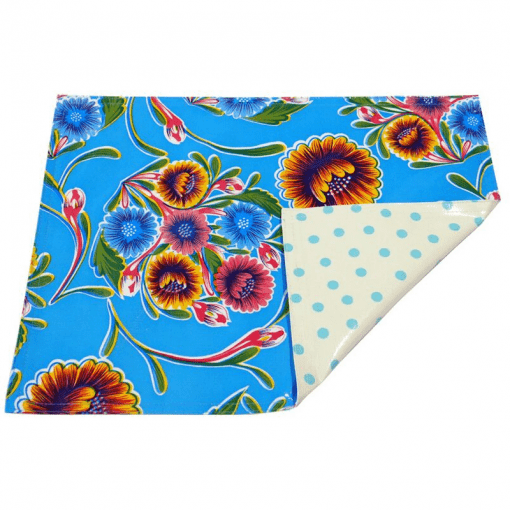 Ben Elke Mexican oil cloth two sided table place mat in blue sweet flower and pale blue polka design