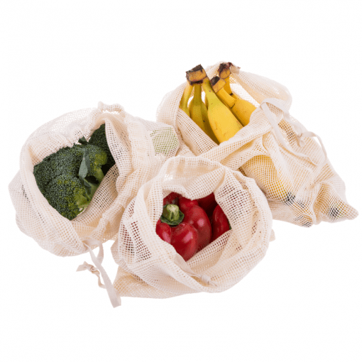 Appetito reusable woven net fresh produce bags - set of 3 bags - filled