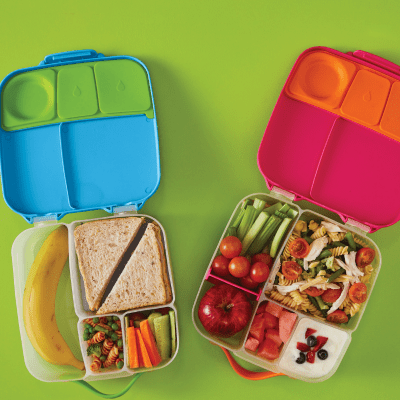 b.box whole foods bento lunch box open with food