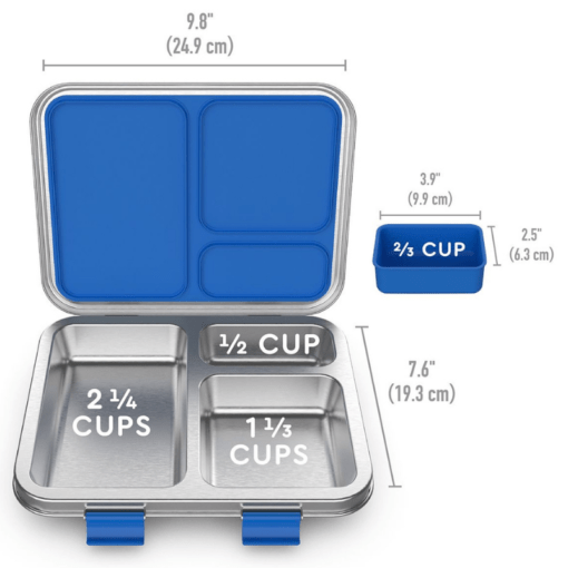 Bentgo stainless steel leak resistant bento lunch box - with measurements