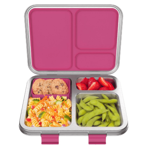 Bentgo stainless steel leak resistant bento lunch box - Fuchsia open with food in the silicone cup