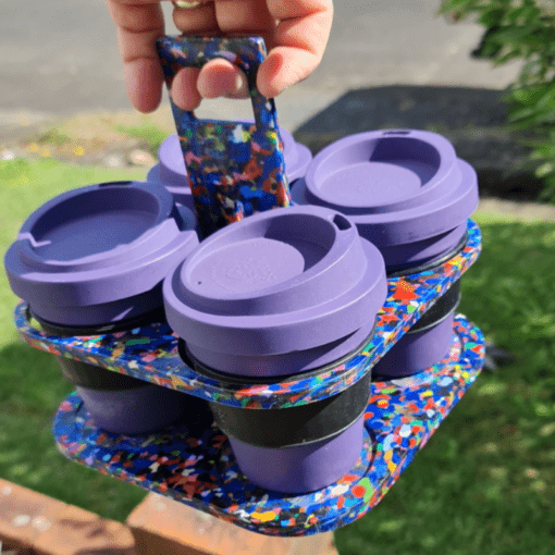 Reusable takeaway coffee cup tray carrier holder made from recycled plastic lids - 4 cups